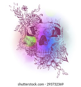 Colored skull isolated. Engraving sketch. Abstract vector skull in the flowers. Print for t-shirt.