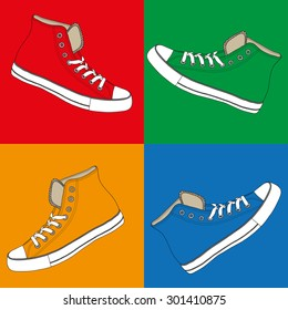colored sneakers set