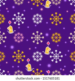 Colored snowflakes seamless pattern. Snow and candles on a dark background. Abstract wallpaper wrapping decoration. Symbol of winter, merry christmas, happy new year holiday Vector illustration