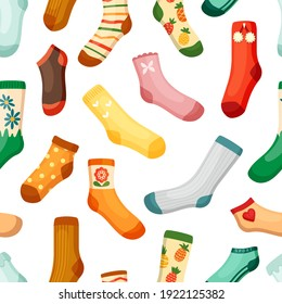 Colored socks seamless pattern. Stylish woolen with white stripes red pineapple hearts drawing warmand orange with butterflies trendy short for sports and hot weather. Vector comfortable.