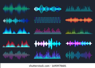 Colored sound waves collection. Analog and digital audio signal. Music equalizer. Interference voice recording. High frequency radio wave. Vector illustration