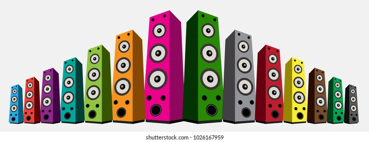 colored speaker isolated on white background. Audio music isolation. Speaker music for concert vector illustration.