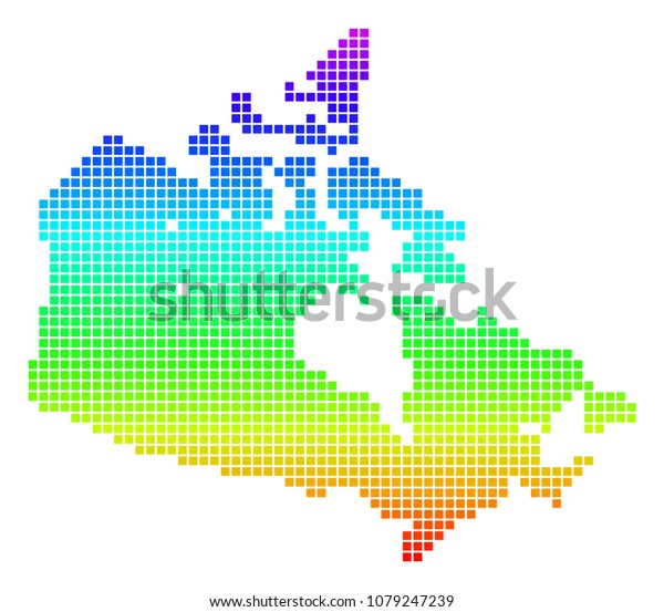 Colored Map Of Canada.Colored Spectrum Dotted Canada Map Vector Stock Vector Royalty Free
