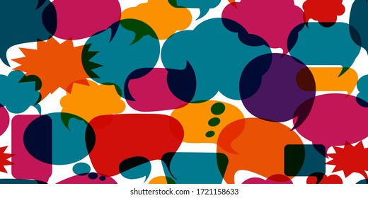 Colored speech bubble. Communication concept. Social network. Colored cloud. To speak - discussion. Symbol to talk and communicate. Dialogue diverse cultures. Seamless pattern background