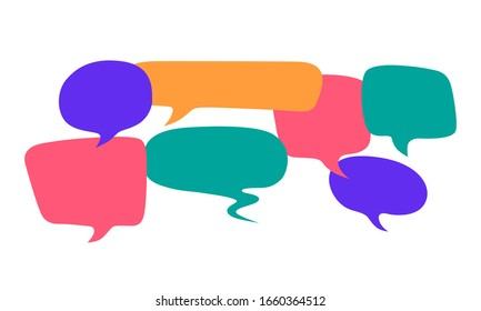 Colored speech bubbles on a white background. Communication concept. Flat design. Vector illustration