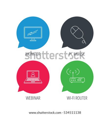 Colored Speech Bubbles Wifi Router Pc Stock Vector (Royalty