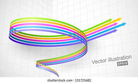 Colored spiral arrow 3D.