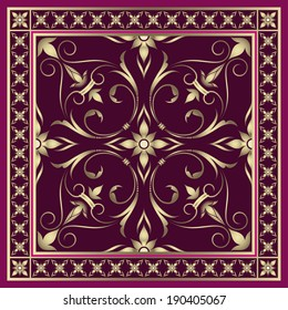 Colored square pattern with floral elements