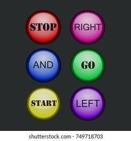 Colored star favorite button, vector