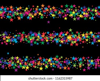 Colored Stars Confetti Vector Magic Cosmic Garland. Fairy Christmas Lights, Gamour Sparkles, Glitter for Birthday Party Decoration. New Year Holiday Falling Down Stars Confetti, Festival Firework
