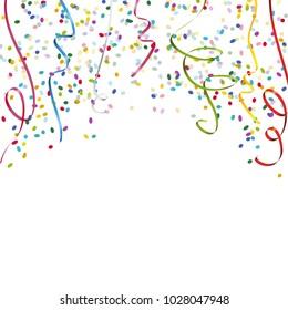 colored streamers and confetti background for party or festival usage