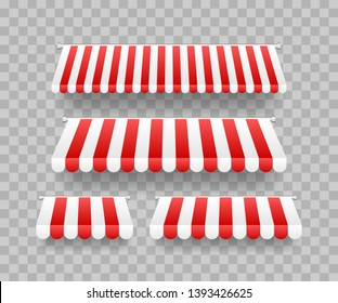 Colored striped awnings set for shop, restaurants and market store on transparent background. Vector illustration.