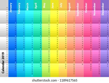 Colored striped calendar for the 2019 year. Spectral colors. Colorful vector set. Template for your design