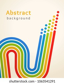 Colored stripes with circles. Retro vector background. Business design template. Abstract sinuous lines directed upwards. Concept of leadership, competition, success and etc