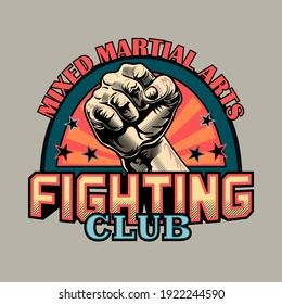 Colored stylish emblem for mixed martial arts. Creative design elements with human fist and text in trendy label. Sport activity or MMA concept for fighting club stamp, label, sign template