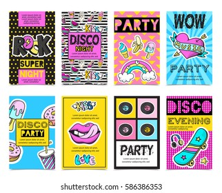 Colored stylish fashion patch badges banner set with disco night wow party disco evening descriptions vector illustration