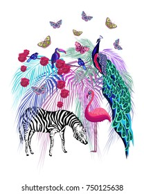Colored stylized animals vector illustration, exotic birds, palm leaves, zebra, flamingo, toucan, peacock, butterflies