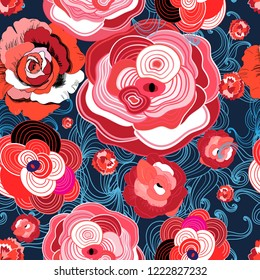 Colored summer pattern different roses on a dark background
