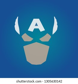 Colored superhero mask isolated on a blue background. Mask captain. Superhero mask. Vector illustration