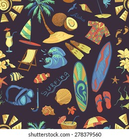 Colored surfing hand draw pattern. Summer, excellent vector illustration, EPS 10