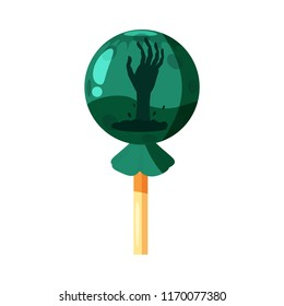 Colored sweets, lollipop, hard candy, caramel Halloween feast. Green color with elements of the holiday Halloween, hand from the earth. Vector, isolated, cartoon style