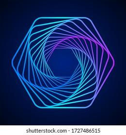 Colored swirling lines hexagon shape. Vector twisted wireframe geometric element. Abstract symbol consisting of hexagons. Technology graphic spiral.