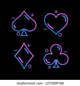 Colored symbols deck of cards for playing poker and casino on black background. Vector illustration.
