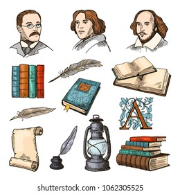 Colored symbols of literature and theatre. Doodle pictures set. Vector literature book, paper and pen, famous writer illustration