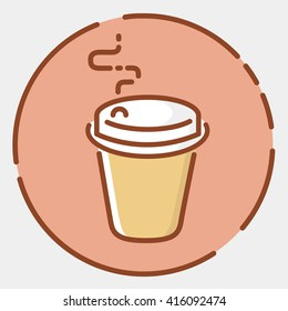 """Colored """"take away"""" cup icon. Coffee, tee or other drink sign. Trendy flat line  design. Colorful vector illustration"""