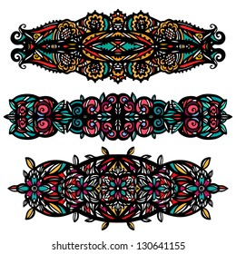 Colored tattoos set - isolated on white background - vector illustration