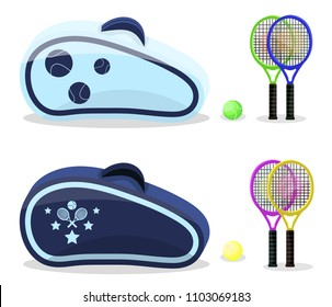 Colored tennis rackets with yellow, green  balls set. Flat cartoons style vector illustration icons. Isolated on white background. Tennis gear for game. Tennis equipments, accessories bag, backpack