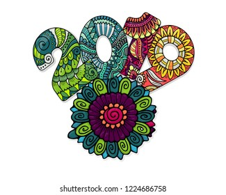 Colored text 2019 and abstract mandala flower. Zentangle vector lettering dedicated to new year celebration