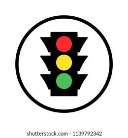 Colored traffic light round icon. Vector illustration