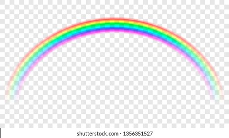 Colored transparent rainbow. Abstract vector image. Symbol of good luck and right path. Colorful weather element. Spectral gradient on the arc. Vector rainbow for overlaying on beautiful landscapes.