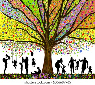 Colored tree and silhouettes of children. Happy childhood. Vector