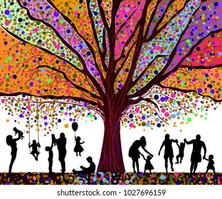 Colored tree and silhouettes of children. Happy childhood. Vecto