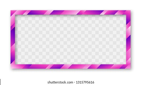 Colored Trendy Gradient Frame With Bland Shadows Isolated On White Background. Abstract Colorful Rectangle Border. Vector Illustration, Eps 10.