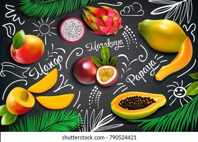 Colored tropical fruits chalkboard composition with mango marakuya papaya cut in half vector illustration