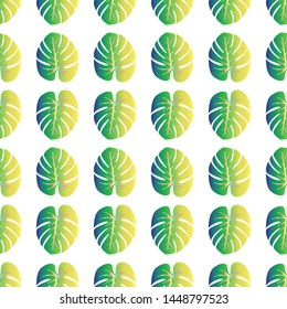 Colored Tropical Leaves Concept - Scroll saw, Intarsia, T Shirt design, Wall sticker, Tattoo or Embossing art is in Seamless Pattern
