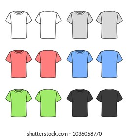 Colored T-shirts Set on White Background. Vector