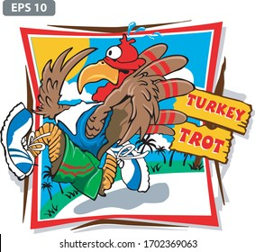 COLORED TURKEY TROT VECTOR ART
