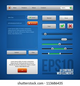 Colored UI Controls Web Elements, Blue, Gray, Red, Green: Buttons, Comments, Sliders, Message Box