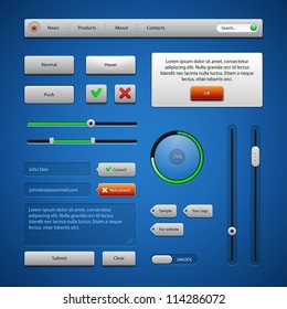 Colored UI Controls Web Elements, Blue, Gray, Red, Green 2: Navigation Bar, Buttons, Comments, Sliders, Message Box, Preloader, Loader, Tag Labels, Unlock
