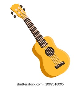 Colored ukulele. Yellow, green, pigeon, orange, pink, blue colored instrument, decor with flowers. Music instrument. Rest, hawaii, melody. Modern vector flat image isolated on white background.