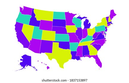 Colored United States Of America map. US background template. Map of America with separated countries and interstate borders. All states and regions are named in the layer panel.