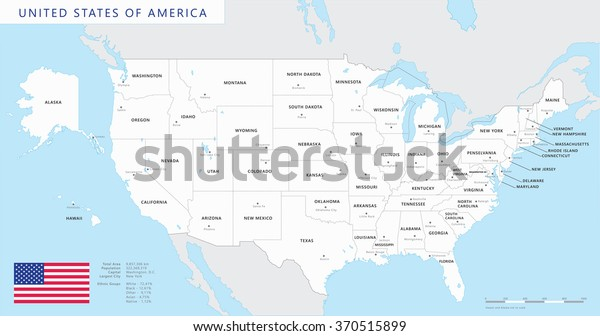 Colored United States Map Names Capitals Stock Vector (Royalty Free ...