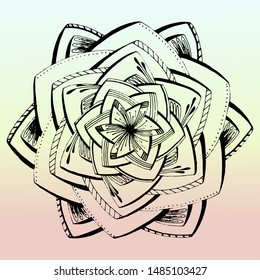 Colored unusual mandala. Coloring book or template for cutting. Complex mandala with lots of details. Vector illustration isolated on a white background.