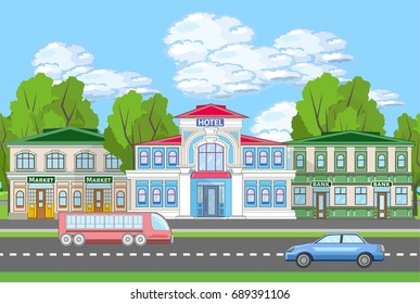 Colored urban landscape with hotel, market and bank. City silhouette near the road with car and bus. Municipal life banner.