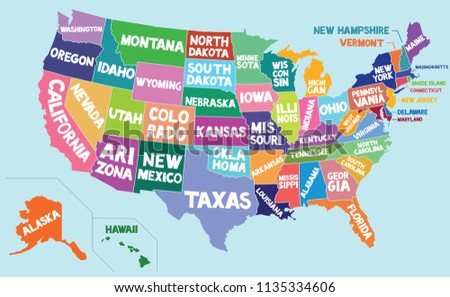 Colored USA Map State Borders Names Stock Vector (Royalty Free ...