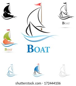 Colored variants of a sailing boat icon. Outline mode. Vector illustration